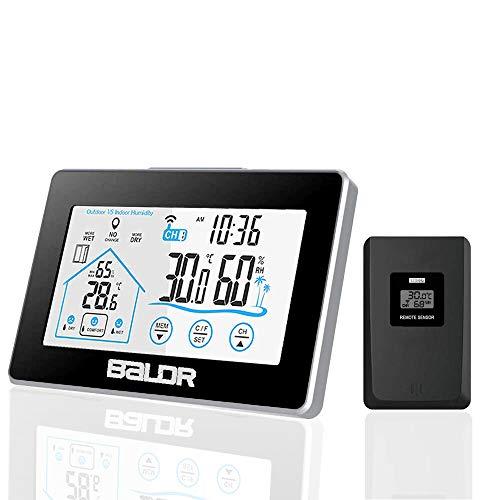 Wetterstation Funk mit Außensensor, Digital Thermometer Hygrometer für Innen und außen, mit Uhrzeitanzeige, Touchscreen und Nachtlicht
