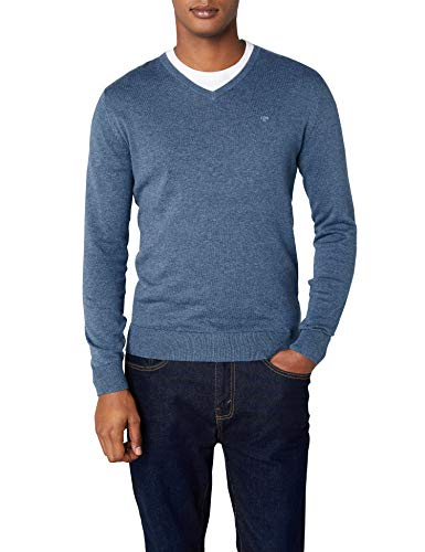 TOM TAILOR Herren Sweatshirt Basic v-Neck Sweater, Blau (Bleached Blue Melange 6495), X-Large