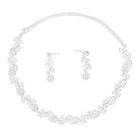 Collier et Boucles d'Oreilles de Strass Forme de Fleurs et Feuilles pour Mariée Soirée Mariage