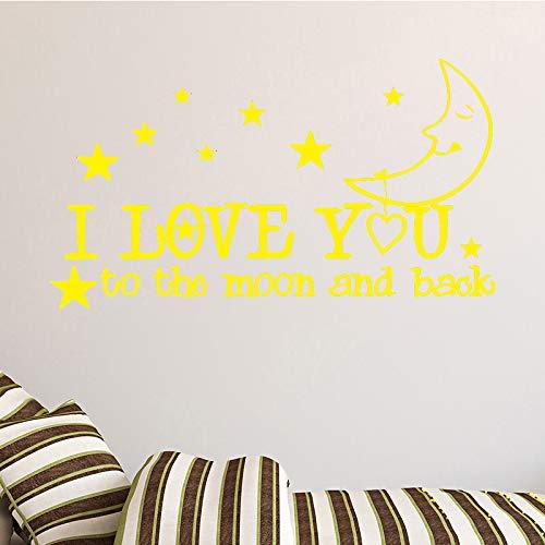 yiyiyaya Petites Étoiles avec Motif De Lune Autocollant Mural pour Enfants Chambre Décoratif Accessoires Stickers Muraux Vinyle Autocollant PapierPeintAdhésif Jaune58cm X 108cm