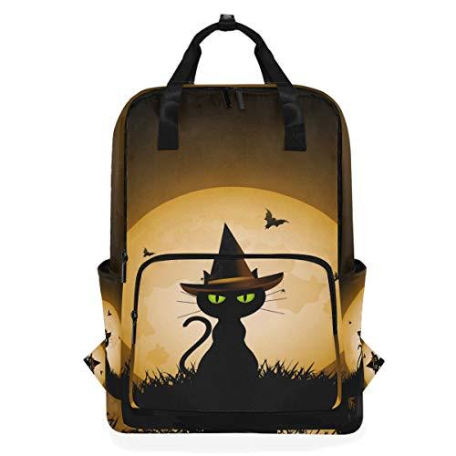 Hunihuni Halloween-Katzen-Tiertasche/Schultertasche für die Schule, zum Wandern, Reisen