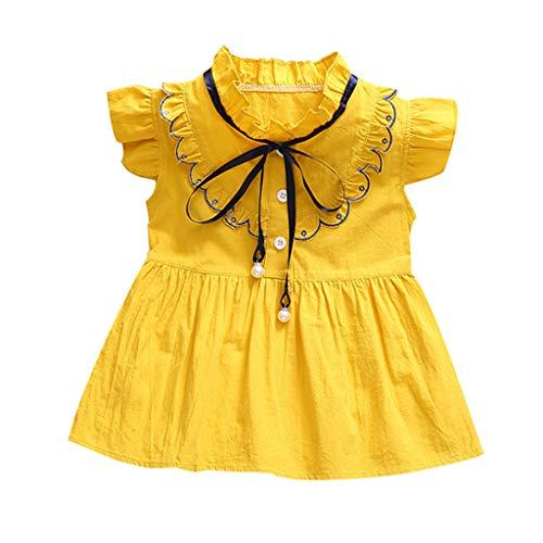 men Kleider Casual Bowknot Minikleid Baby Prinzessin Rüschen Kleider Mädchen Sommer Kurze Hülse Party Strand Kleinkind Dress ()