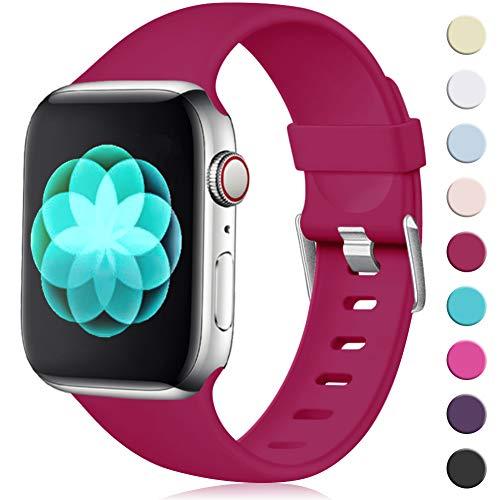 Maledan Kompatibel für Apple Watch Armband 42mm 44mm, Ersatzarmband aus Weiches TPU Verstellbares Uhrenarmband mit Klassische Schnalle für Apple Watch Series 4/3/2/1 S/M Dunkel Rot