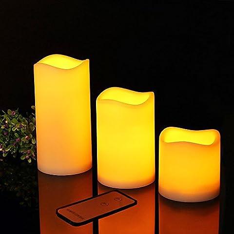 LZHOO 3er Set Flammenlose LED Kerzen mit Fernbedienung Elektrische Flackernde Batteriebetriebene Kerze Lampe Deko für Hochzeit, Geburtstags 7,5 cm 11,5 cm 15