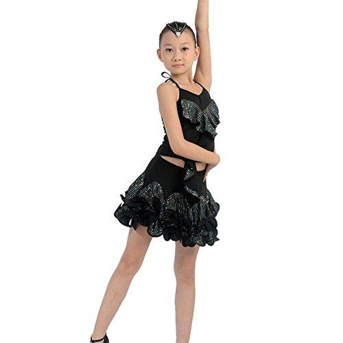 Byjia Kinder Latin Dance Kostüme Teen Girls Wear Kinder Bühne Aufführungen Kleider Jugend Komfort Studenten Gruppe Praxis Kleidung Black - Teen Dance Kostüm