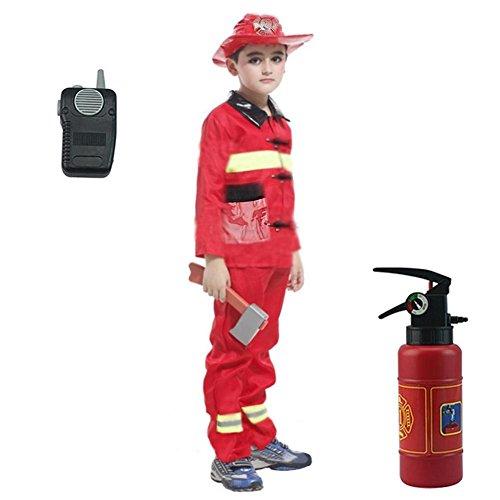 Dress Up Feuerwehrmann Kostüm Set,Feuerwehr-Kostüm Kinder Feuerwehr-Mann Fasching Karneval Kinder-Kostüm,Kostüm Feuerwehr Junge Uniform Feuerwehrmann Anzug Fasching