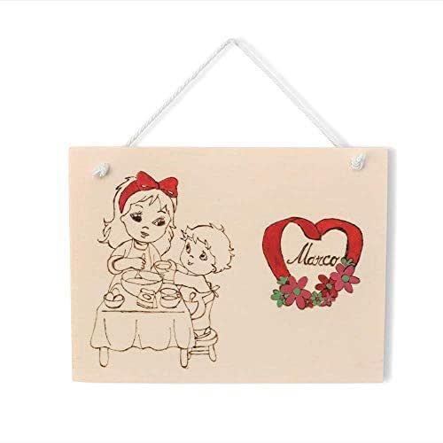 Targa regalo festa della mamma o compleanno in legno personalizzabile tema bambino con cuore