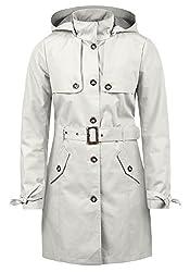 DESIRES Tina Damen Trenchcoat Mantel Übergangsjacke mit Kapuze, Größe:S, Farbe:Glacier Gr (2210)