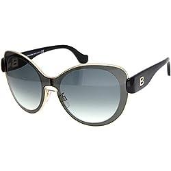 Balenciaga Für Frau 0002 Shiny Black / Gradient Smoke Metallgestell Sonnenbrillen