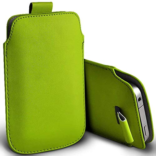 Price comparison product image I-Sonite (Green) Premium Slip In Pull Tab Sleeve Faux Leather Pouch Case Cover For Samsung Galaxy J5 (2017) [XXL]