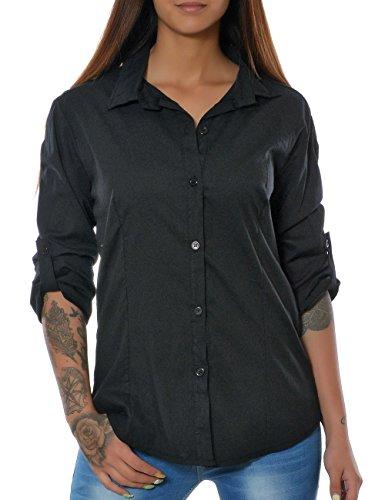 Damen Elegante Figurbetonte Bluse Business Hemd Tailliert Oberteil 3/4 Ärmel Langarm No 15646, Farbe:Schwarz;Größe:40/L (Top 3/4-Ärmel-empire)