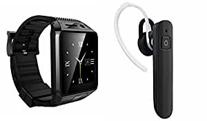 MIRZA Bluetooth DZ09 Smart Wrist Watch & HM1100 Bluetooth Headset for LENOVO a7000 plus(HM1100 Bluetooth Headset & DZ09 Smart Watch Wrist Watch Phone with Camera & SIM Card Support Hot Fashion New Arrival Best Selling Premium Quality Lowest Price with Apps like Facebook,Whatsapp, Twitter, Sports, Health, Pedometer, Sedentary Remind & Sleep Monitoring, Better Display, Loud Speaker, Microphone, Touch Screen, Multi-Language, Compatible with Android iOS Mobile Tablet-Assorted Color)