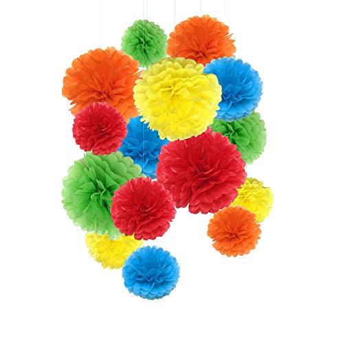 Pompones de papel de seda, flores de papel arcoíris para decoración de fiesta, 15 unidades de 8,10,14 pulgadas