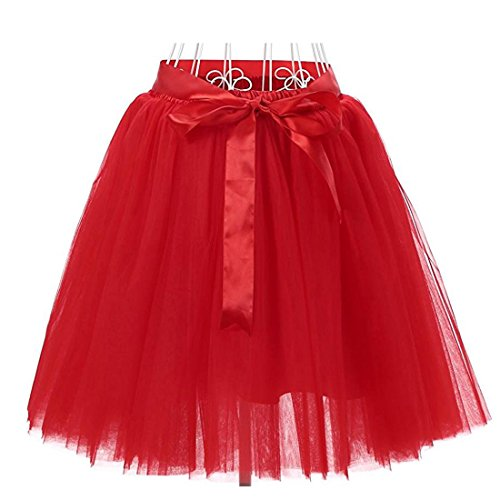 Facent Mädchen 7 Schichten Knielang Tüllrock Tutu Tüll Kleid Rock Reifrock Abendrock Rot