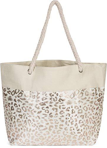 styleBREAKER Damen XXL Strandtasche mit Metallic Leoparden Animal Print und Reißverschluss, Schultertasche, Shopper 02012282, Farbe:Beige-Rosegold (Designer-körbe)