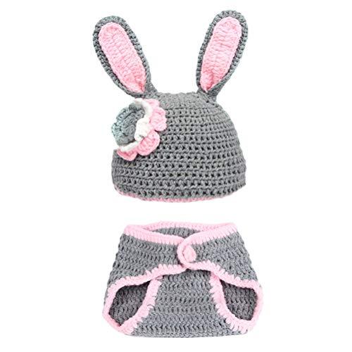 Amosfun Neugeborenes Baby Bunny Fotografie Requisiten häkeln Kostüm Hut und Hose Outfits Kleinkind Ostern Photoshoot Sets grau