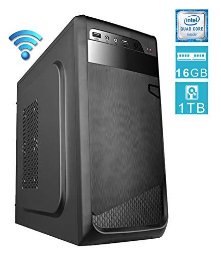 PC DESKTOP computer fisso • assemblato completo Intel QUAD-CORE 2.00 ghz • RAM 16gb • HDD 1tb • MASTERIZZATORE • WIFI • WINDOWS 10 • DILC GREEN HIGH PLUS