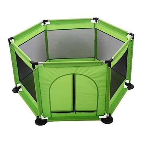 YXNN Kinderlaufstall - Tragbarer, Waschbarer Wasserspiel-Mittelzaun, 6-teiliges, Atmungsaktives Mesh-Spielbett, Geeignet Für Das Spielen Im Innen- Und Außenbereich (Color : Green) -