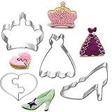 Kinder Keks-Ausstechform, Plätzchen-Ausstechform 4 Set(Krone,Liebe Herz,Rock,Schuhe mit hohen Absätzen)