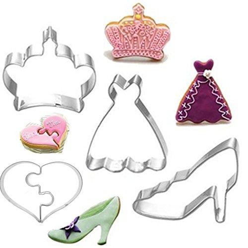 Kinder Keks-Ausstechform, Plätzchen-Ausstechform 4 Set(Krone,Liebe Herz,Rock,Schuhe mit hohen Absätzen) - Rock-krone