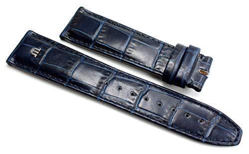 Maurice Lacroix Blau 20mm Silber Logo für Dornschließe