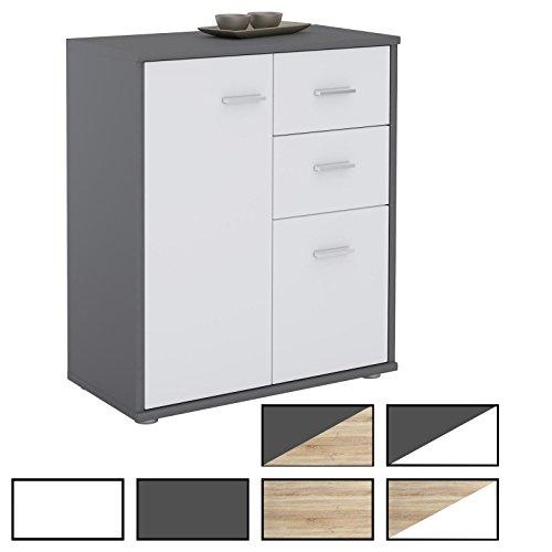 CARO-Möbel Kommode LOCARNO Highboard Bürokommode mit 2 Schubladen und 2 Türen in modernen Farben