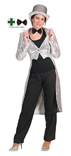 Karneval-Klamotten Frack Pailletten Damen Frack Damen Silber MIT Fliege schwarz Silvester Damen-Kostüm Größe 36/38