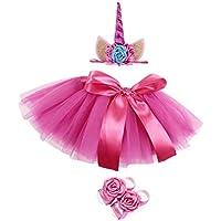 FENICAL Fancy Baby Girl recién Nacido Unicorn Tutu Vestido con Diadema y Zapatos (Rosy)