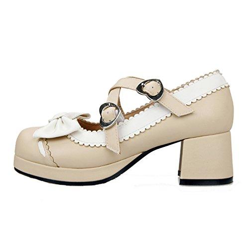 ENMAYER Femmes Chaussures à Talons Hauts à Talons Hauts Mary Janes avec Bowtie Abricot(Cross)