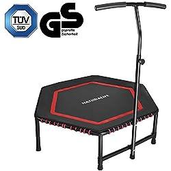 NATURALIFE Mini trampolín Fitness con Manillar, Cama elástica Fitness de 106 cm para Ejercicio Corporal y Ejercicios cardiovasculares, Peso máximo 120 kg