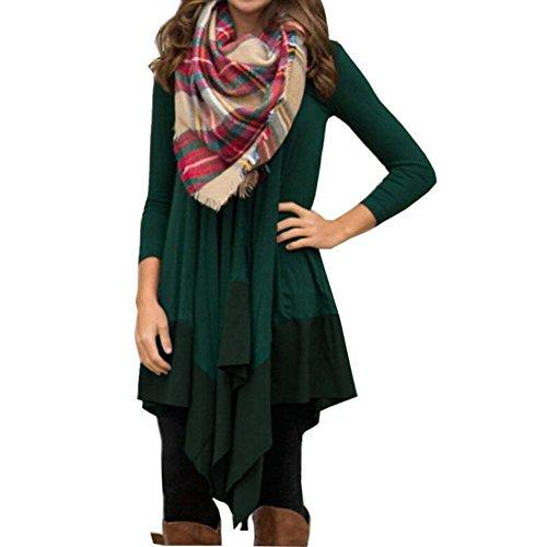 LaoZan Damen Winter Irregular Casual Loose Fit Tunika Kleid T-Shirt Langarmkleid Grün