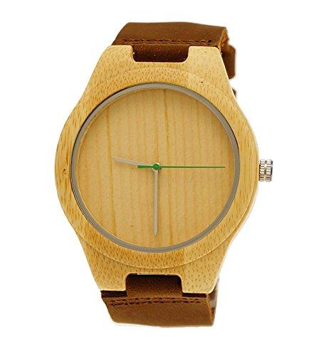 "Henny Klein designer Damen Herren Öko Natur Holz Rinder Leder Armbanduhr Uhr in Braun ""limitierte edition"" inkl. Uhrenbox"
