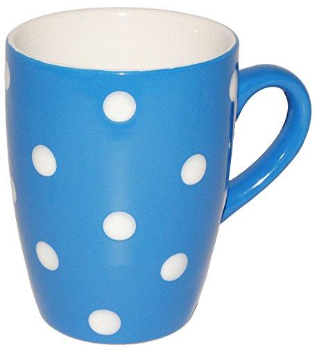 alles-meine.de GmbH 4 Stück _ Henkeltassen / Kaffeetassen -  Punkte - Blau & Weiß  - groß - 300...