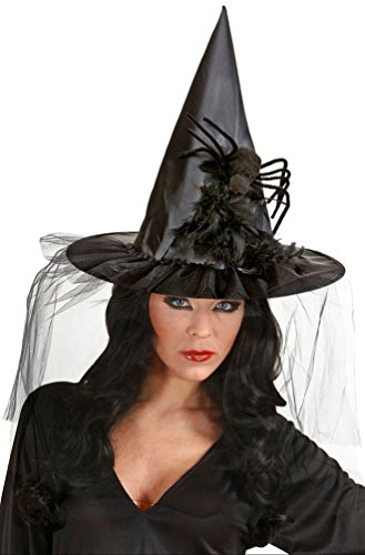 Hexenhut Damen Hut Hexe mit Tüll Federn und Spinne Erwachsene Hut Halloween Hexer ()