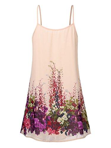 WAJAT Damen Spaghetti Chiffonkleid Blumen Sommer Minikleid Strand A-Linie Aprikosen Blume