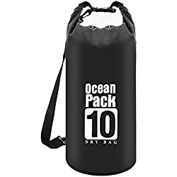 Vaupan étanche Dry Bag 10L/20L pour téléphone Portable, Roll Top étanche Flottant Sac pour Voyage/Kayak/Plage/Rafting/Bateau/plongée/Camping/pêche/Natation/randonnée/Canotage/Sorties (Noir), 10L