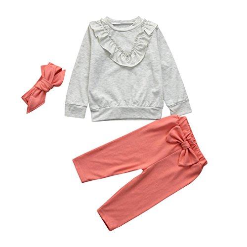 Kinderbekleidung,Honestyi Baby Mädchen Kinder Solide Rüschen Tops Shirt Bowknot Hosen Outfits 3 Stücke Set Pullover Jacken Hosen Overalls Blusen (Grau, 4T/110CM) (Jacke 4t)