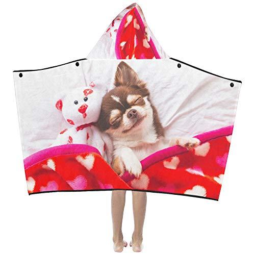 Niedliche Chihuahua Hund Tier weiche warme Kinder verkleiden sich mit Kapuze tragbare Decke Badetücher werfen Wrap für Kleinkinder Kind Mädchen Junge Größe Home Reise Picknick Schlaf Geschenk -