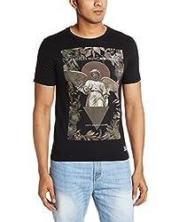 Van Heusen Mens T-Shirt (8907445104213_VDKC316D00716_Small_Black)