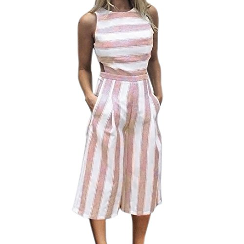 MRULIC Damen Striped Jumpsuit Lässige Clubwear Breites Bein Hosen Outfit(Rosa,EU-36-40/CN-L)