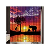 Knbob Duschvorhang Waschbar Elefant & Giraffe Rot Shower Curtain 165X180CM Inkl. Duschvorhangringe Badezimmer Vorhänge