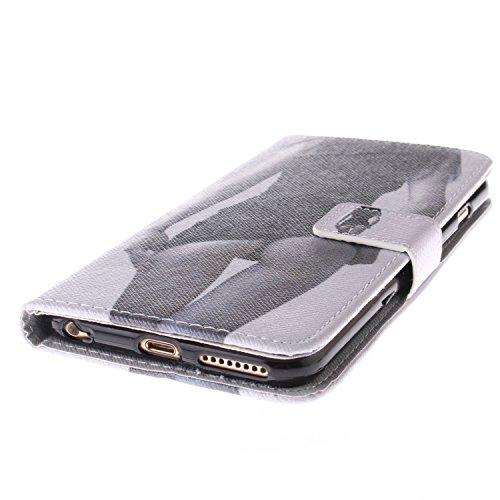 Ooboom® iPhone 5SE Coque PU Cuir Flip Housse Étui Cover Case Wallet Stand avec Carte de Crédit Fentes Fermoir Magnétique pour Apple iPhone 5SE - Chouette Dame Sexy