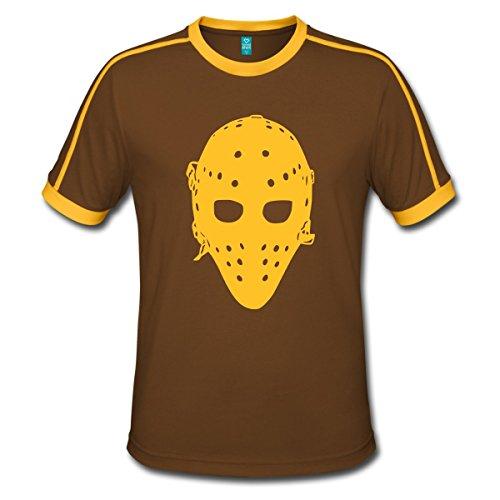 Spreadshirt Eishockey Vintage Goaliemaske Ice Hockey Männer Retro-T-Shirt, L, Chocolate/Sun