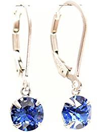 pewterhooter 925 Sterling Silver lever back earrings handmade with petite Sapphire Blue crystal from SWAROVSKI®.