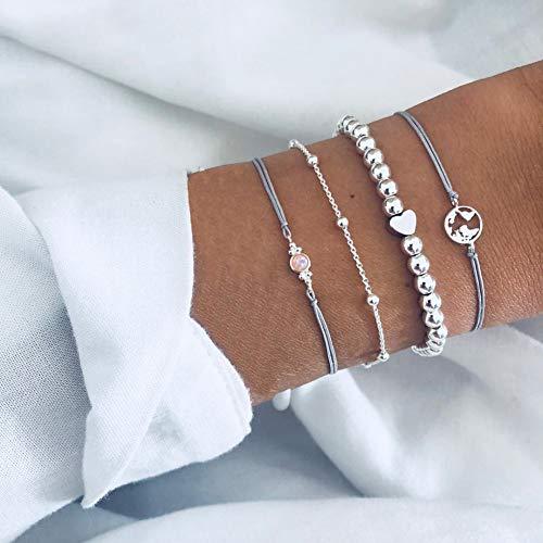 QIANJY Silber Farbe Runde Marmor Doppel Perlen Charm Armbänder Für Frauen Elegante Boho White Marbles Chain Bracelets & Bangles - Doppel-marmor