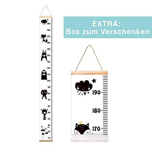MESSLATTE KIND Größenmesser Kinder Baby Wand Canvas Leinwand Holz Kinderzimmer Dekoration Wand aufrollbar Chart modern extra Box