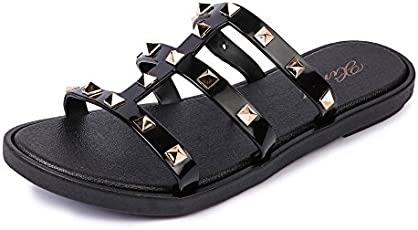 Brauch Women's Studded Detail Black Slipper