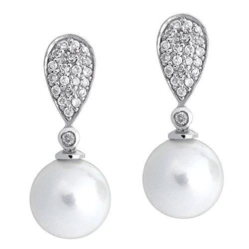 Sarah Kern Damen-Ohrstecker 925 Silber rhodiniert mit weiße große Perle und Zirkonia