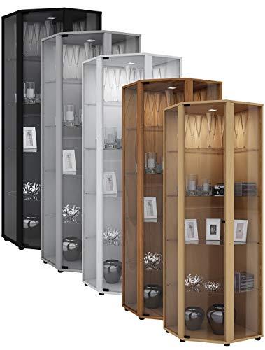"""VCM Eckvitrine Glasvitrine Standvitrine Schrank Sammelvitrine Vitrine Glas Regal Schwarz 175 x 57 x 57 cm \""""Venedig\"""""""