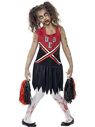 Luxuspiraten - Mädchen Kinder Kostüm Horror Geister Zombie High School Cheerleaderin mit Pom Poms , perfekt für Halloween Karneval und Fasching, 122-134, Schwarz (High School Zombie Mädchen Kostüm)